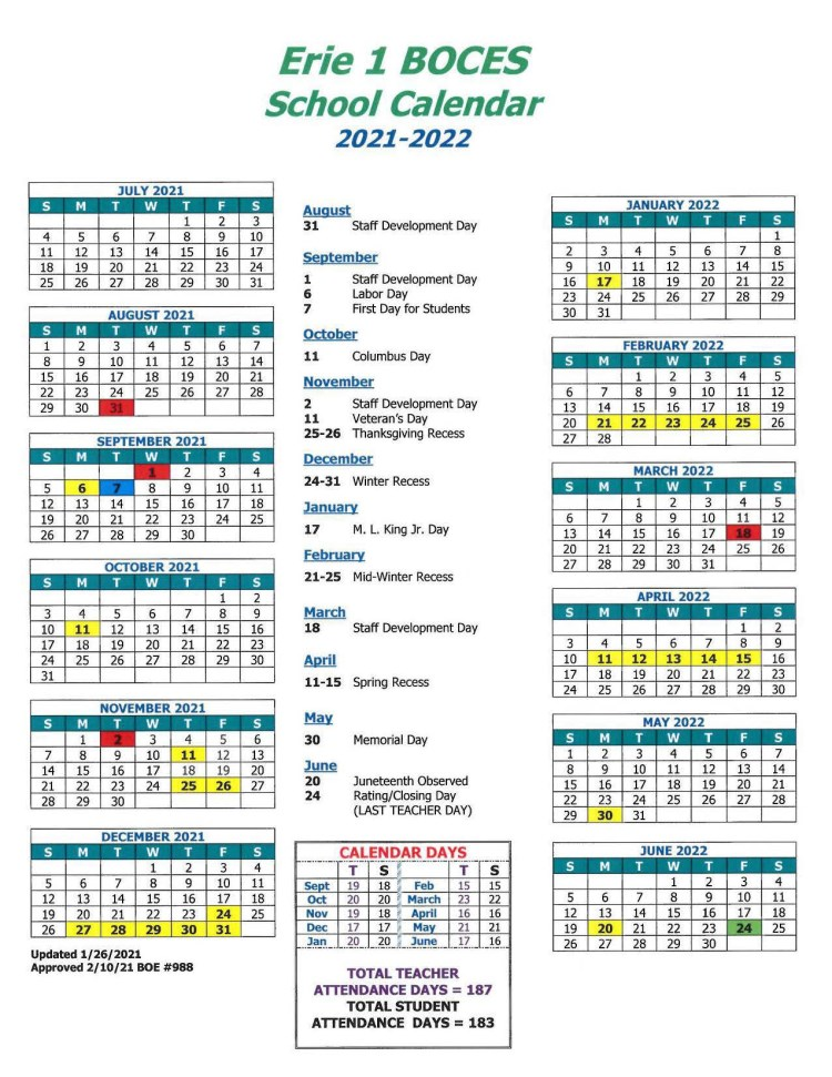 View our 2021-2022 E1B School Calendar